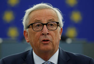 European Commission President Juncker delivers a speech during a debate on The State of the EU at the European Parliament in Strasbourg