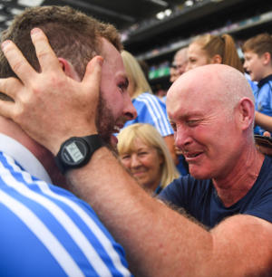 Jack McCaffrey of Dublin celebrates with his father Noel following the GAA Football All-Ireland Senior Championship Final match between Dublin and Tyrone at Croke Park in Dublin. (Photo By David Fitzgerald/Sportsfile via Getty Images)