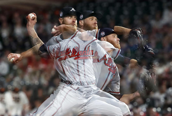 Slide 1 of 15: Atlanta Braves pitcher Mike Foltynewicz (26) throws against the San Francisco Giants during the eighth inning of a baseball game in San Francisco, Tuesday, Sept. 11, 2018. Atlanta won 4-1. (AP Photo/Tony Avelar)