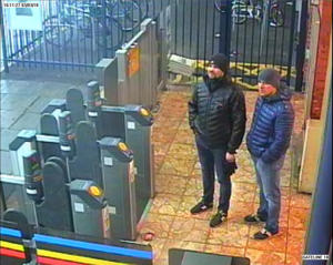 Handout CCTV image issued by the Metropolitan Police of Russian Nationals Ruslan Boshirov and Alexander Petrov at Salisbury train station at 16:11hrs on March 3 2018