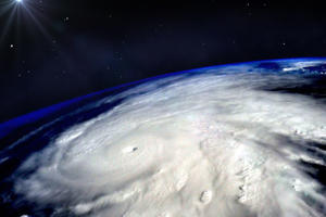 Hurricane typhoon over planet Earth