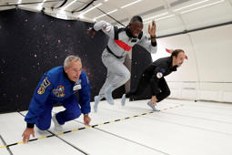 "Retired sprinter Usain Bolt, French astronaut Jean-Francois Clervoy, CEO of Novespace, and French Interior designer Octave de Gaulle who designed a bottle of ""Mumm Grand Cordon Stellar"" enjoy zero gravity conditions during a flight in a specially modified Airbus Zero-G plane above Reims, France, September 12, 2018. REUTERS/Benoit Tessier"