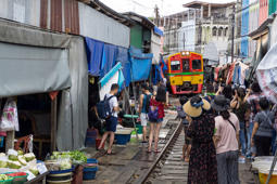 Asia, Thailand, Samut Songkhram, Maeklong Railway Market. (Photo by: Valletta Vittorio/AGF/UIG via Getty Images)
