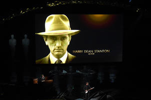HOLLYWOOD, CA - MARCH 04:  In Memoriam video tribute to actor Harry Dean Stanton onstage during the 90th Annual Academy Awards at the Dolby Theatre at Hollywood & Highland Center on March 4, 2018 in Hollywood, California.  (Photo by Kevin Winter/Getty Images)