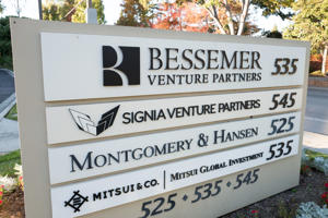 Sign at office park for venture capital firms in Silicon Valley, Menlo Park, California