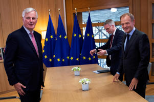 European Union's chief Brexit negotiator Michel Barnier poses with European Council President Donald Tusk ahead of meeting in Brussels, Belgium September 13, 2018. Francisco Seco/Pool via REUTERS