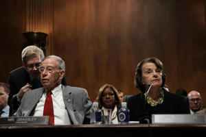 WASHINGTON, DC - SEPTEMBER 13:  Committee Chairman U.S. Sen. Chuck Grassley (R-IA) (L) and ranking member Sen. Dianne Feinstein (D-CA) (R) participate in a markup hearing before the Senate Judiciary Committee September 13, 2018 on Capitol Hill in Washington, DC. A request during the hearing by the Democrats to subpoena documents on Supreme Court nominee Brett Kavanaugh's job as staff secretary in the George W. Bush administration was rejected by the Republicans. Chairman Grassley announced that the committee will hold its final vote on the nomination on September 20, 2018.  (Photo by Alex Wong/Getty Images)