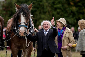 President Michael D Higgins with his wife Sabina Coyne during the Irish 2018 National Ploughing Championship in Tullamore, Co. Offaly, Ireland. (Photo by Liam McBurney/PA Images via Getty Images)