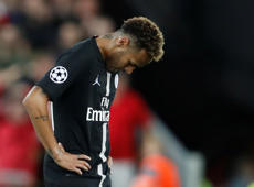 Soccer Football - Champions League - Group Stage - Group C - Liverpool v Paris St Germain - Anfield, Liverpool, Britain - September 18, 2018  Paris St Germain's Neymar looks dejected after Liverpool's third goal   Action Images via Reuters/Carl Recine
