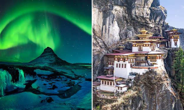 Folie 1 von 51: TITLE: Freezing Kirkjufell and Aurora Storm ; CAPTION: Taktshang Goemba or Tiger's nest Temple or Tiger's nest monastery the beautiful buddhist temple.The most sacred place in Bhutan is located on the high cliff mountain with sky of Paro valley, Bhutan.