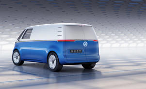a blue car parked in a parking lot: Volkswagen I.D. Buzz cargo