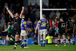 Toronto's Jacob Emmitt celebrates victory against Super League side Leeds Rhinos
