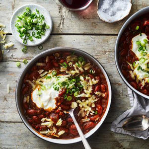 a bowl of food on a table: Busy Weeknight Bean Chili