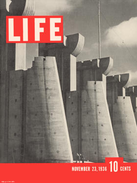 Slide 1 of 36: The cover of Life magazine features a photograph of the Fort Peck Dam over the Missouri River, Montana, November 23, 1936. The was the magazine's first issue. (Photo by Margaret Bourke-White/The LIFE Premium Collection/Getty Images)