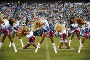 Cheerleaders of the Tennessee Titans cheer during a game against the Baltimore Ravens at Nissan Stadium on October 14, 2018 in Nashville, Tennessee.