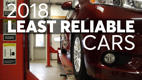 a black and red sign above a store: Least Reliable New Cars of 2018