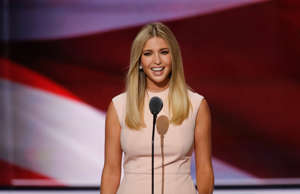 CAPTION: Ivanka Trump speaks during the final night of the 2016 Republican National Convention in Cleveland, Ohion July 21, 2016. (Photo by Carolyn Cole/Los Angeles Times via Getty Images)