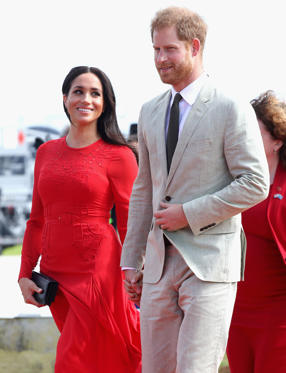 Slide 2 of 85: NUKU'ALOFA, TONGA - OCTOBER 25:  Prince Harry, Duke of Sussex and Meghan, Duchess of Sussex arrive at Fua'amotu Airport on October 25, 2018 in Nuku'alofa, Tonga. The Duke and Duchess of Sussex are on their official 16-day Autumn tour visiting cities in Australia, Fiji, Tonga and New Zealand.  (Photo by Chris Jackson/Getty Images)