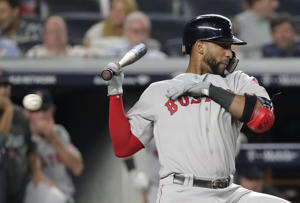 Boston Red Sox' Eduardo Nunez dodges an inside pitch during the eighth inning of Game 4 of baseball's American League Division Series against the New York Yankees, Tuesday, Oct. 9, 2018, in New York. (AP Photo/Frank Franklin II)