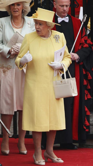 She opted for a lovely lemon yellow for Kate and William's wedding back in 2011