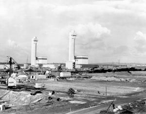 A view of the Windscale reactors and chimneys