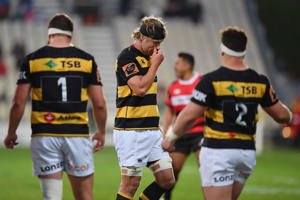Jarrad Hoeata of Taranaki reacts after being sent off during the round eight Mitre 10 Cup match between Canterbury and Taranaki at Christchurch Stadium on October 6, 2018 in Christchurch, New Zealand