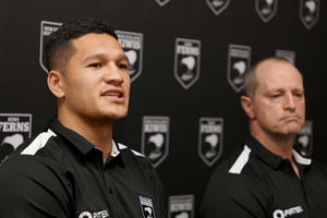 Kiwis coach Michael Maguire (R) and captain Dallin Watene-Zelezniak (L) during a New Zealand Kiwis press conference at Mt Smart Stadium on October 9, 2018.