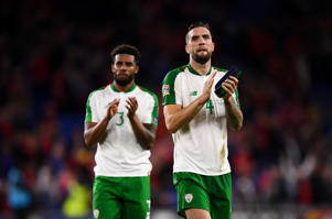 Cyrus Christie, left, and Shane Duffy of Republic of Ireland after the UEFA Nations League match between Wales and Republic of Ireland at the Cardiff City Stadium in Cardiff, Wales.