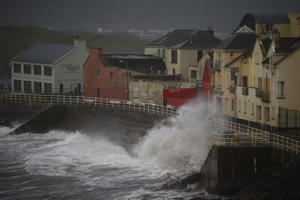 Winds batter the coast as storm Ophelia hits the County Clare town of Lahinch, Ireland October 16, 2017. REUTERS/Clodagh Kilcoyne