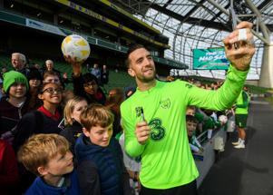 Shane Duffy with supporters following a Republic of Ireland training session at the Aviva Stadium in Dublin.