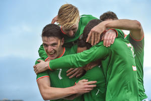 Declan Rice of Republic of Ireland celebrates with his team-mates after Reece Grego-Cox's hatrick against Israel during the UEFA European U21 Championship Qualifier match between Republic of Ireland and Israel at Tallaght Stadium in Dublin. (Photo By Matt Browne/Sportsfile via Getty Images)