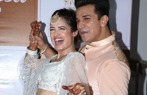 Prince Narula and Yuvika Chaudhary photographed outside the party venue.