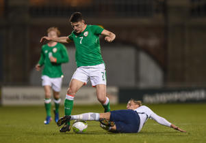 Declan Rice of Republic of Ireland in action against Ulrik Jenssen of Norway during the UEFA European U21 Championship Qualifier match between Republic of Ireland and Norway at Tallaght Stadium in Dublin. (Photo By Seb Daly/Sportsfile via Getty Images)