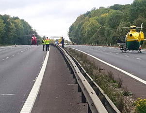 Three Air ambulances on the M4 following the crash between Chieveley and Hungerford