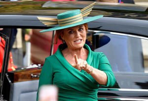 Sarah Ferguson, Duchess of York, arrives for the royal wedding of Princess Eugenie and Jack Brooksbank at St George's Chapel in Windsor Castle, Windsor.