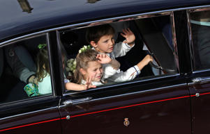 The bridesmaids and page boys leave St George's Chapel in Windsor Castle, following the wedding of Princess Eugenie to Jack Brooksbank, in Windsor.