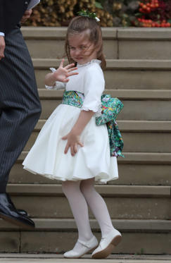Princess Charlotte arrives for the wedding of Princess Eugenie to Jack Brooksbank at St George's Chapel in Windsor Castle, Britain October 12, 2018. Steve Parsons/Pool via REUTERS    /Pool via REUTERS