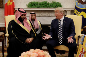 FILE: President Donald Trump meets with Saudi Crown Prince Mohammed bin Salman in the Oval Office of the White House, Tuesday, March 20, 2018, in Washington. (AP Photo/Evan Vucci)