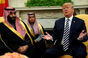 FILE: U.S. President Donald Trump welcomes Saudi Arabia's Crown Prince Mohammed bin Salman in the Oval Office at the White House in Washington, U.S. March 20, 2018.  REUTERS/Jonathan Ernst