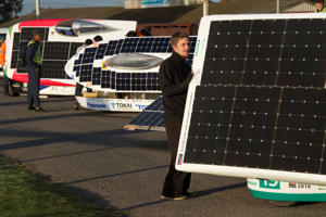 The car's solar panels are set up to face the sun before the start of the 8th and the final day of the Sasol Solar Challenge, on September 29, 2018, in Swellendam. - The eight-day race has South African and international solar-powered cars, vying to rack up as much distance as they can on roads and loops between Pretoria and Cape Town. (Photo by Rodger BOSCH / AFP)        (Photo credit should read RODGER BOSCH/AFP/Getty Images)