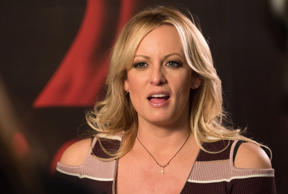 11 October 2018, Berlin: Stormy Daniels, US erotic star, is at the erotic fair Venus. Photo: Britta Pedersen/dpa-Zentralbild/dpa (Photo by Britta Pedersen/picture alliance via Getty Images)