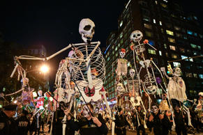 NEW YORK, NY - OCTOBER 31:  Halloween revelers attend the 44th Annual Village Halloween Parade on October 31, 2017 in New York City.  (Photo by Dia Dipasupil/Getty Images)