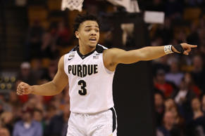 BOSTON, MA - MARCH 23:  Carsen Edwards #3 of the Purdue Boilermakers gestures during the second half against the Texas Tech Red Raiders in the 2018 NCAA Men's Basketball Tournament East Regional at TD Garden on March 23, 2018 in Boston, Massachusetts.  (Photo by Elsa/Getty Images)