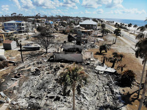The aftermath of hurricane Michael is seen on October 17, 2018 in Mexico Beach, Florida.
