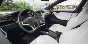 Interior and Passenger Space: The Tesla Model S's interior atmosphere is nice enough, but it's not as plush as that of the Mercedes-Benz E-class or the Volvo S90.