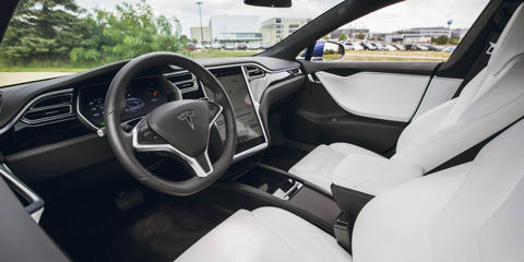 The Tesla Model S's interior atmosphere is nice enough, but it's not as plush as that of the Mercedes-Benz E-class or the Volvo S90.