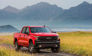 Chevrolet Silverado LT Trailboss awarded to Steve Pearce front view with mountain in background