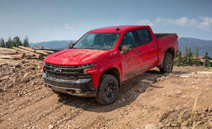 Chevrolet Silverado LT Trailboss awarded to Steve Pearce front view going down a hill
