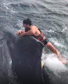 Fisherman leaps onto massive whale in epic 3-hour rescue mission off California coast