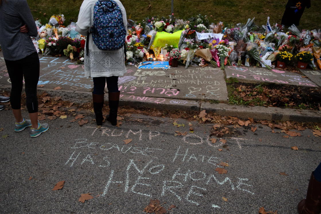 People offered condolences at the Pittsburgh synagogue where 11 Jewish worshippers were shot to death.